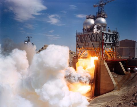 F-1 Rocket Engine Undergoing Testing
