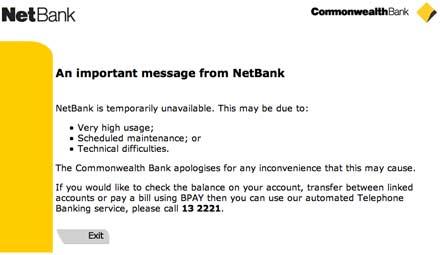NetBank online error message