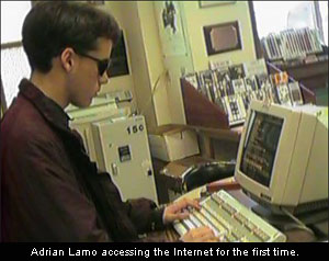 Adrian Lamo accessing the Internet for the first time