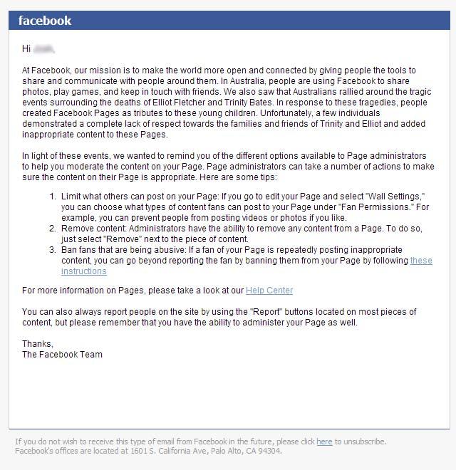 Facebook letter