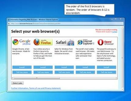 Microsoft browser ballot screen