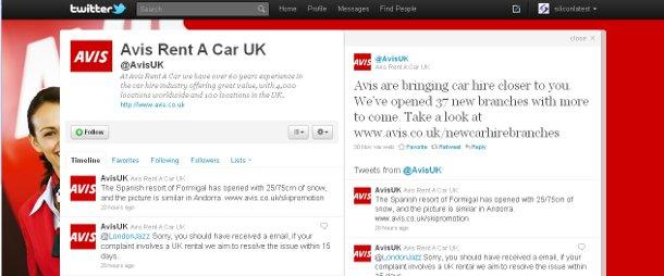 The Avis Twitter feed has 2,000 followers<em>