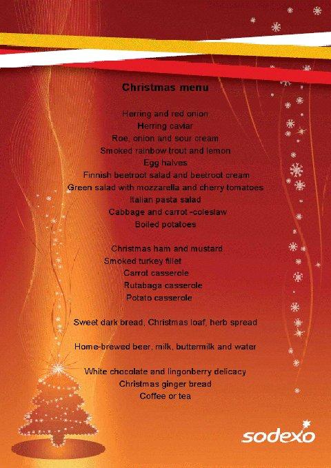 Nokia Christmas lunch menu