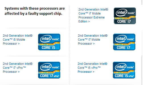 The affected processors