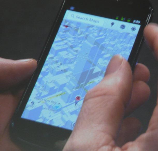 Google demoing a geometric building data map layer on the Nexus S