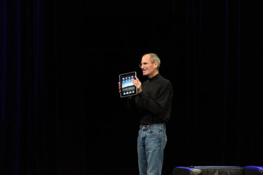 Apple CEO Steve Jobs launching the iPad