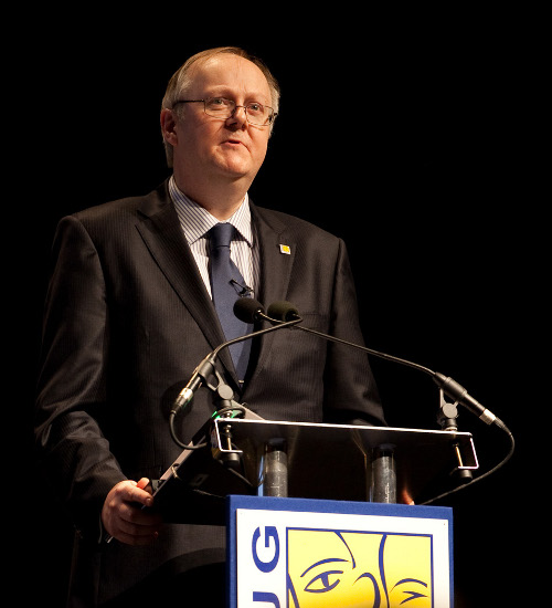 UK & Ireland SAP user group chairman Alan Bowling addresses delegates at the organisation's conference in Manchester