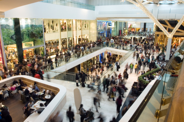 Crowded shopping centre