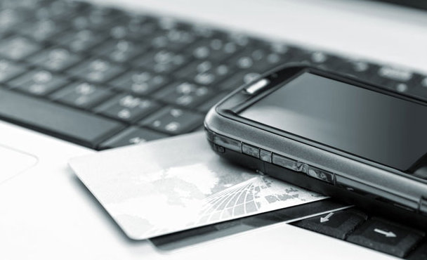 A credit card and a keyboard