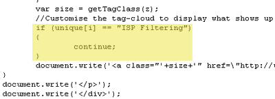 Screenshot of source code