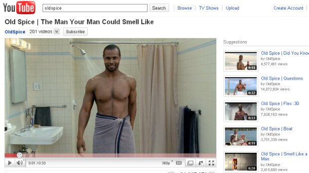 Old Spice ad campaign on YouTube