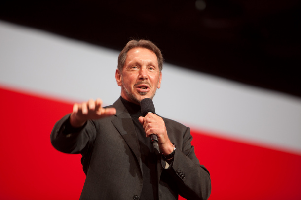 Larry Ellison on stage at Oracle World
