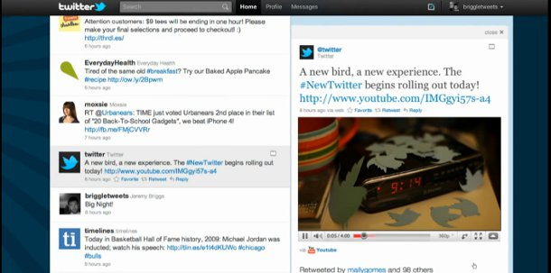 the new Twitter interface showing an embedded video