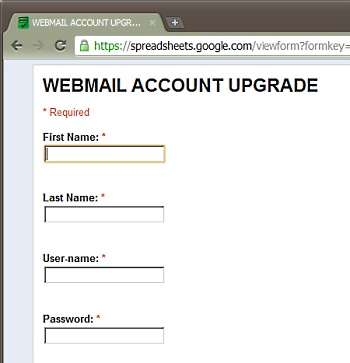 Phishing form with certificate