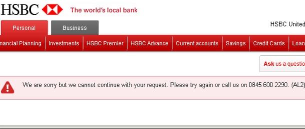 HSBC internet banking error message