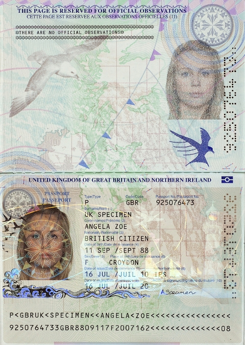 An image of the redesigned UK passport