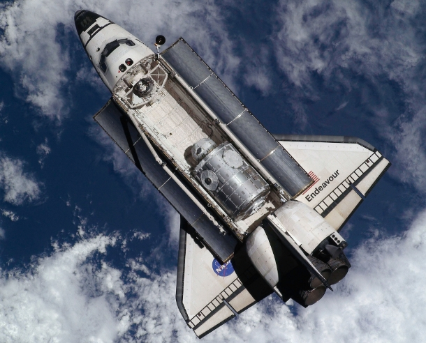 The Nasa space shuttle Endeavour in orbit around the Earth