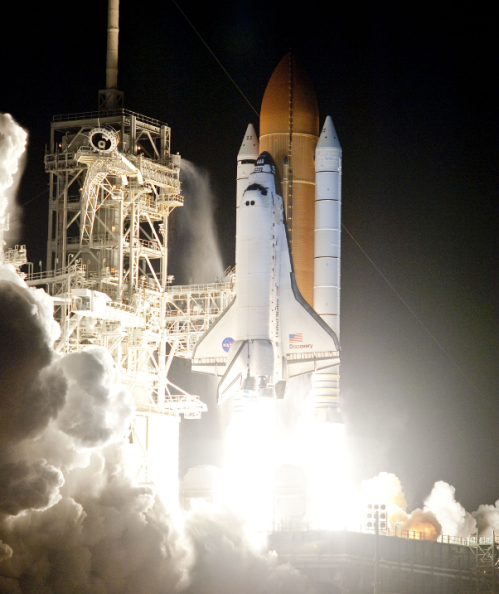 The space shuttle Discovery and its seven man crew lift off for a mission to rendezvous with the International Space Station in April this year