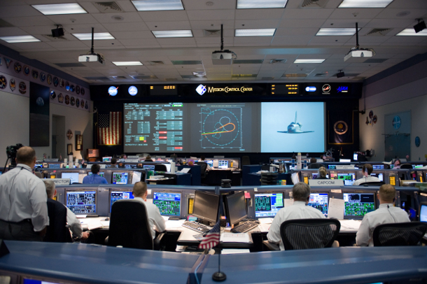 Flight controllers in the space shuttle flight control room in Mission Control Center at Nasa's Johnson Space Center