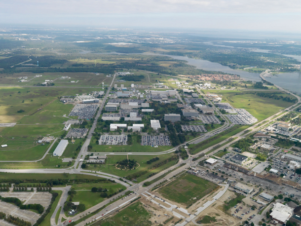 An aerial view of Nasa's Johnson Space Center in Houston, Texas