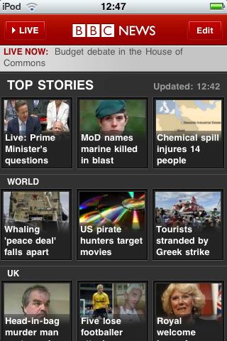 The bbc news iphone app
