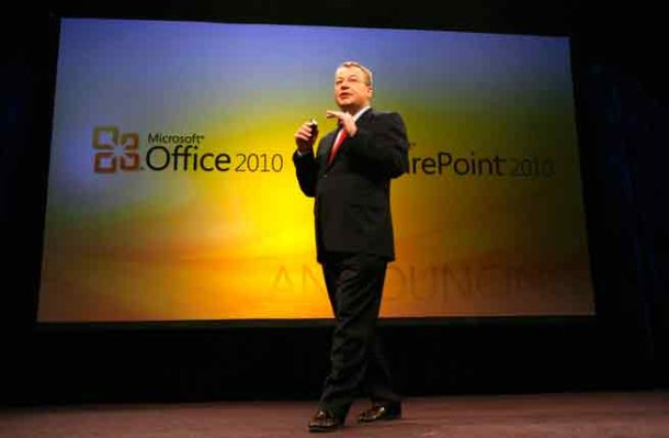 Microsoft's business division chief, Stephen Elop, at the launch of Office 2010
