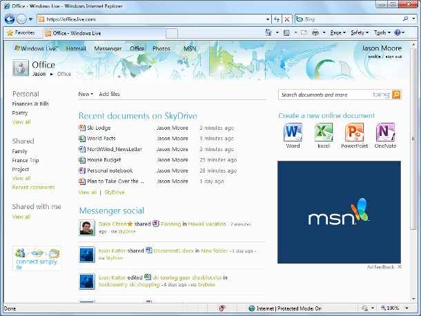 Screenshot of Office Web Apps on Skydrive