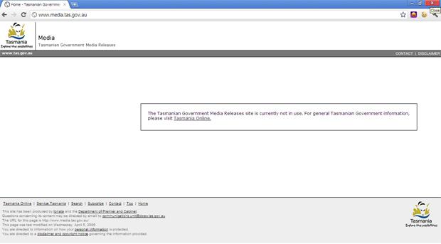 Tasmanian government media site offline