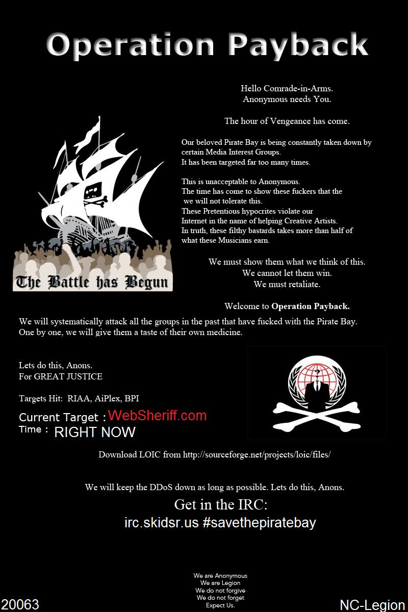 A flier on the current Operation Payback attacks