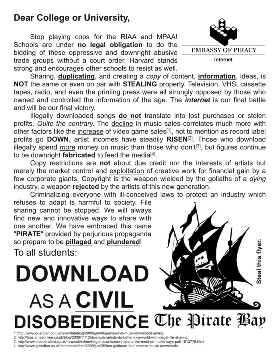 A flier targeting students