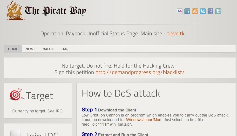 The Operation Payback website