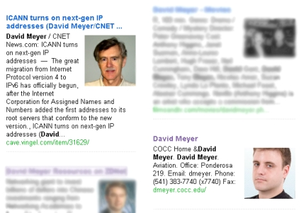 Cuil search results for David Meyer