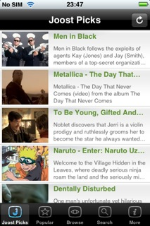 Joost streaming video application appears for the iPhone
