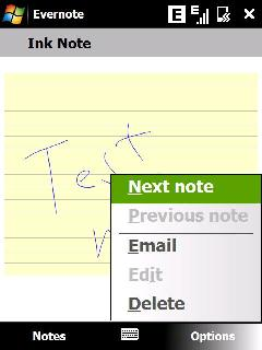 Ink notes in Evernote
