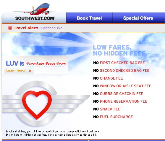 Southwest Airlines home page