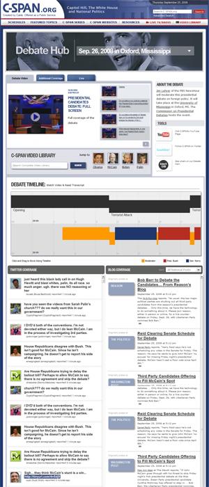C-SPAN Debate Hub (click to enlarge)