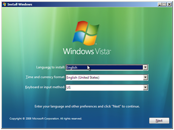 Vista Install Screen