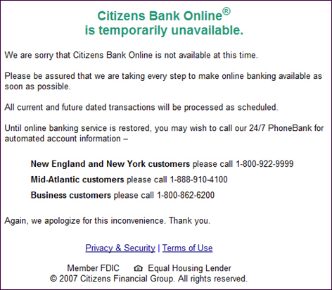Citizens Bank Online is down
