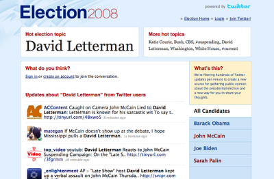 Cool Tools - Twitter unveils Election 2008 mashup