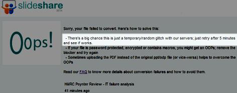 SlideShare error message