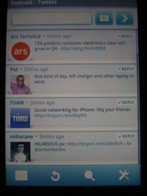 You aren't limited to just the Android Market, try TwitRoid for Twittering on the G1