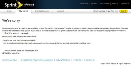 System migration shuts Sprint customer service web