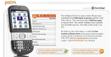 Don't get too excited, the Palm Software Store is just a browser hyperlink