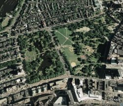Boston Common from Google Earth, scaled with The Gimp