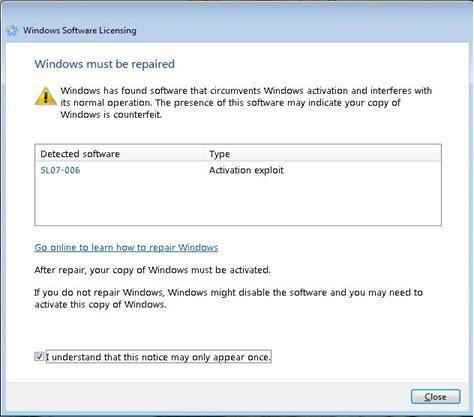 Activation crack detection update for Vista