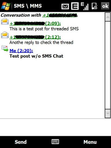 Windows Mobile 6.1 chat display