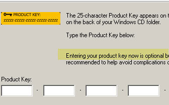New wording in the Windows XP SP3 dialog box confirms that entering a product key is now optional during setup.