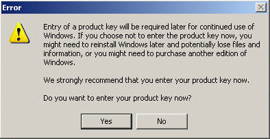 If you choose not to enter a product key, you can use XP for 30 days without activating it