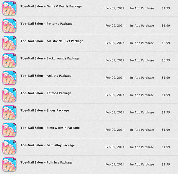A sampling of unintended In-App Purchases in Toe-Nail Salon, one of the worst offenders - Jason O'Grady