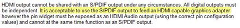 MicrosoftÂ's specs for HDMI and S/PDIF